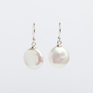 12MM WHITE COIN PEARL EARRINGS