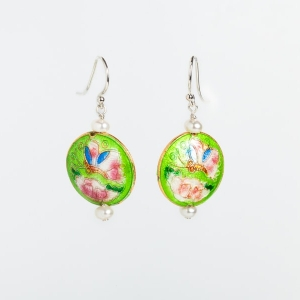 LIME GREEN ENAMEL & PEARL EARRINGS WITH BUTTERFLY & FLOWER