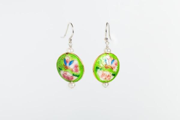 LIME GREEN ENAMEL & PEARL EARRINGS WITH BUTTERFLY & FLOWER