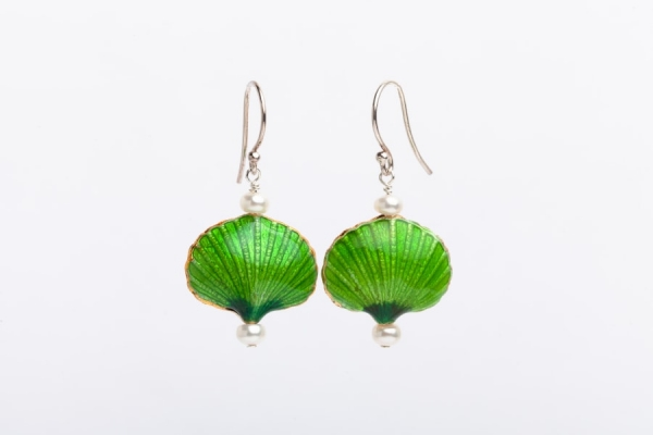 LIME GREEN ENAMEL & PEARL EARRINGS