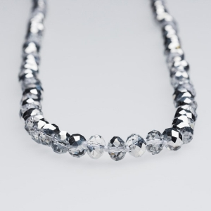 SILVER TINSEL CRYSTAL NECKLACE