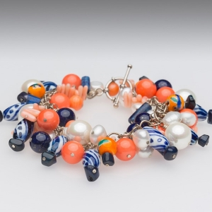 PEARL CHARM BRACELET – CORAL BEADS