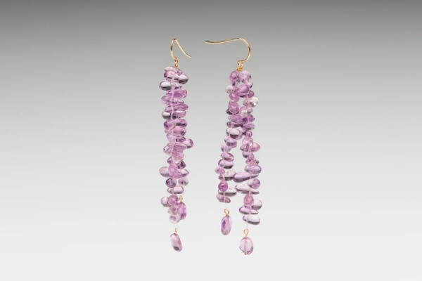 AMETHYST TIP DRILLED EARRINGS