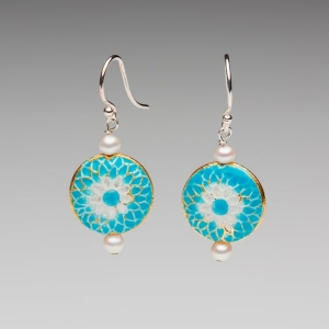 ENAMEL & PEARL EARRINGS - SKY BLUE
