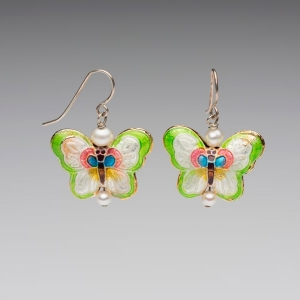 ENAMEL & PEARL EARRINGS - LIME GREEN