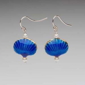 ENAMEL & PEARL EARRINGS - ROYAL BLUE