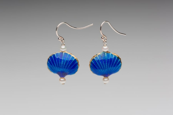 ENAMEL & PEARL EARRINGS - ROYAL BLUE