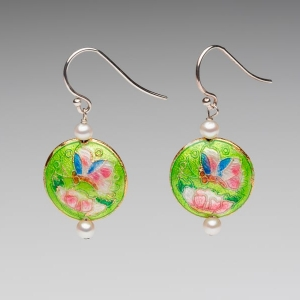 ENAMEL & PEARL EARRINGS - BUTTERFLY & FLOWER