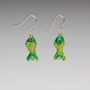 ENAMEL EARRINGS - EMERALD GREEN FISH