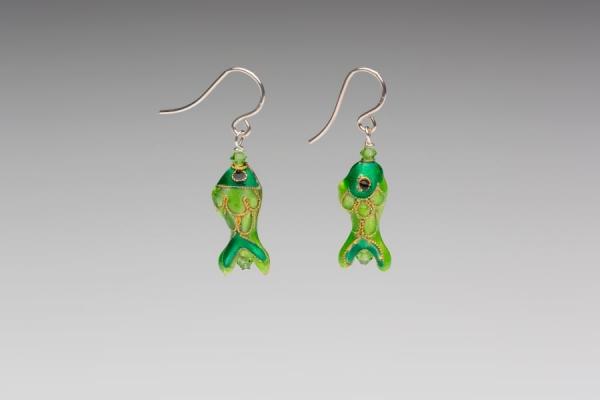 ENAMEL EARRINGS - EMERALD GREEN FISH