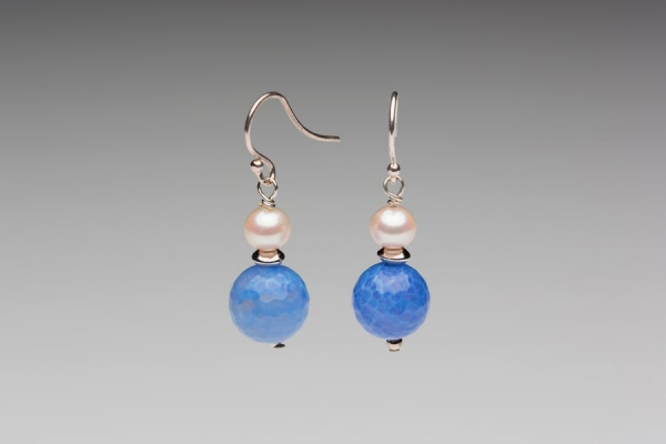 PEARL & SKY BLUE QUARTZ EARRINGS