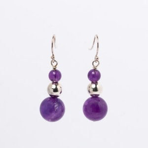 AMETHYST AND SILVER BEAD EARRINGS