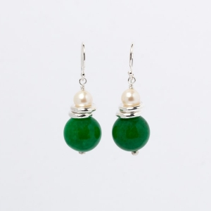 JADE AND PEARL EARRINGS - TWO RINGS