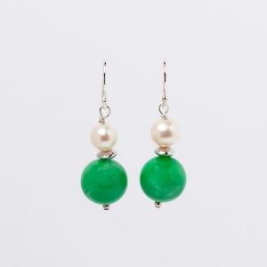 JADE AND PEARL EARRINGS - ONE SPACER
