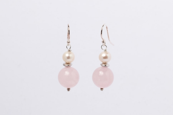 ROSE QUARTZ AND PEARL EARRINGS - ONE SPACER