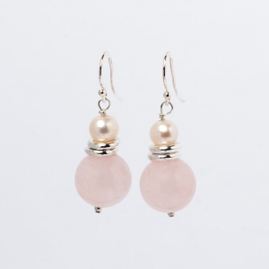 ROSE QUARTZ AND PEARL EARRINGS - TWO RINGS
