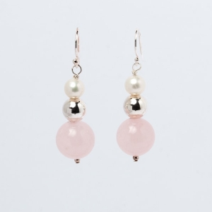 ROSE QUARTZ, PEARL AND STERLING SILVER BEAD EARRINGS