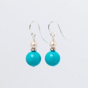 TURQUOISE AND PEARL EARRINGS - ONE SPACER