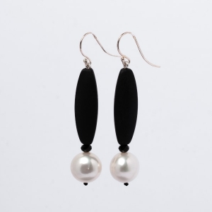 WHITE PEARL, MATT BLACK ONYX AND BLACK CRYSTAL EARRINGS