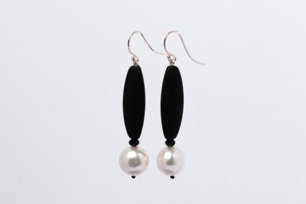 WHITE PEARL, MATT BLACK ONYX AND BLACK CRYSTAL EARRINGS