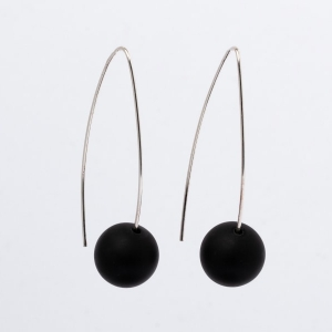 MATT BLACK ONYX EARRINGS - 5CM DROP