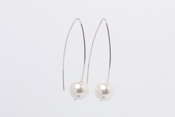 WHITE SEASHELL PEARL EARRINGS - 5CM DROP