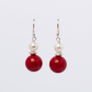 RED CORAL AND PEARL EARRINGS - ONE SPACER