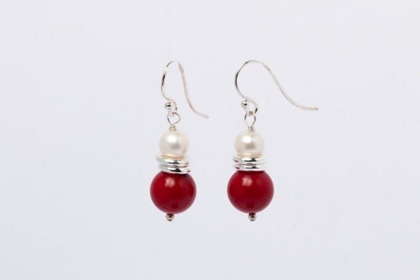 RED CORAL AND PEARL EARRINGS - TWO RINGS