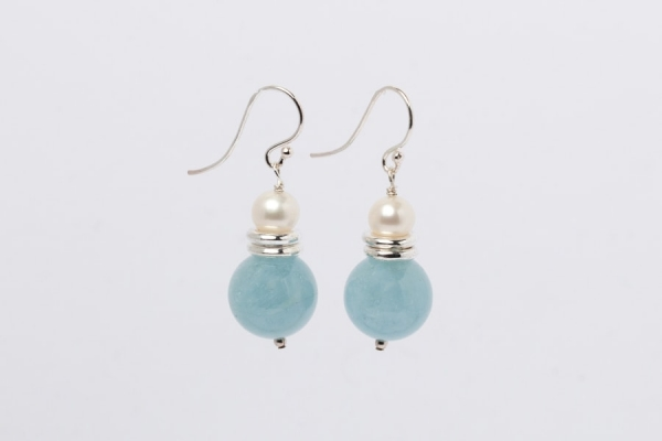 AQUAMARINE AND PEARL EARRINGS - 14MM