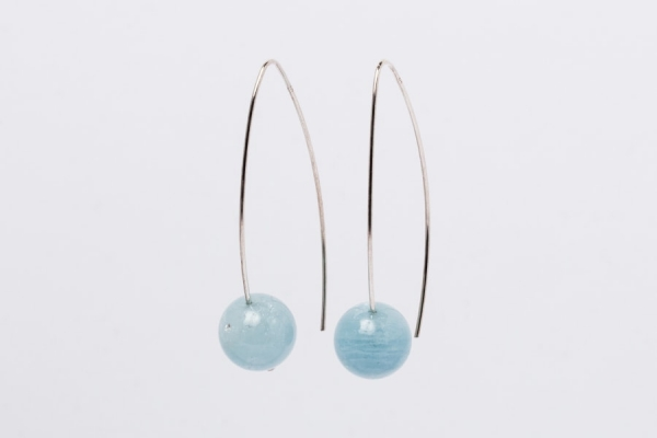AQUAMARINE EARRINGS - 5CM DROP