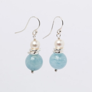 AQUAMARINE AND PEARL EARRINGS - 12MM