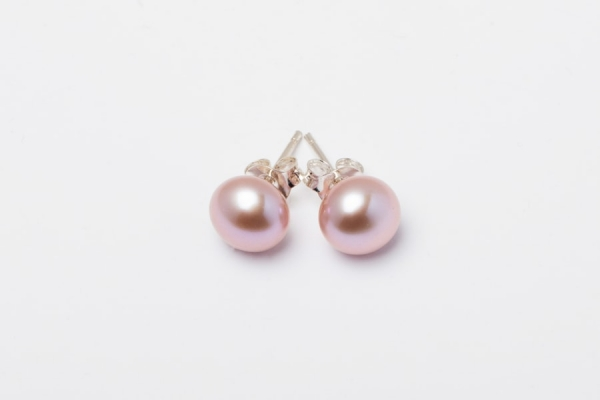 PINK BUTTON PEARL STUD EARRINGS - 8MM