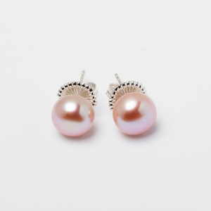 PINK BUTTON PEARL STUD EARRINGS - 10MM