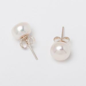 WHITE BUTTON PEARL STUD EARRINGS - 8MM