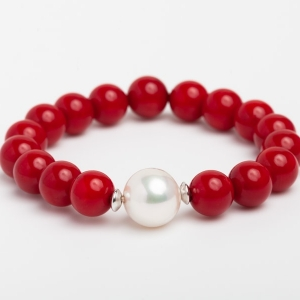 RED CORAL AND PEARL BRACELET