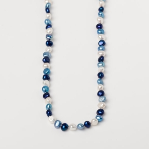 WHITE, LAPIS BLUE AND SKY BLUE POTATO PEARL LOOP NECKLACE