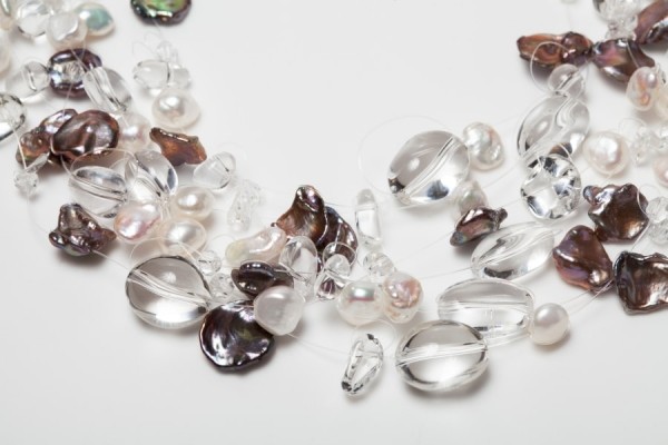 MULTI-STRAND FLOATING AUBERGINE KESHI PEARL, CRYSTAL AND FRESHWATER PEARL NECKLACE
