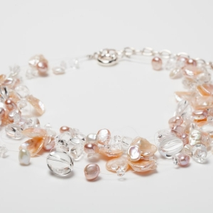MULTI-STRAND FLOATING BLUSH PINK KESHI PEARL, CRYSTAL AND FRESHWATER PEARL NECKLACE