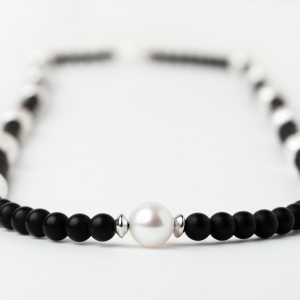 6MM BLACK ONYX AND BAROQUE PEARL LOOP NECKLACE