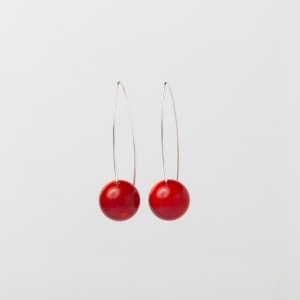 RED CORAL EARRINGS - 5CM DROP