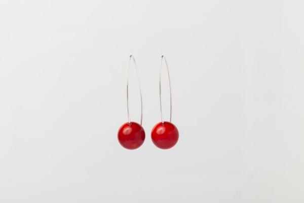 RED CORAL EARRINGS - 5CM DROP