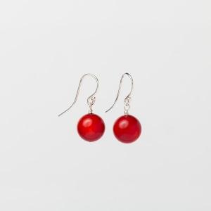 RED CORAL EARRINGS - 11MM