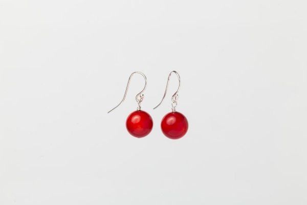 RED CORAL EARRINGS - 11MM