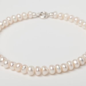 WHITE BUTTON PEARL NECKLACE - BOLT RING CLASP