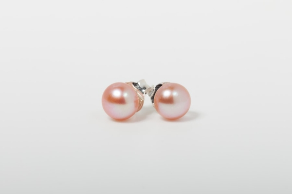 PINK BUTTON PEARL STUD EARRINGS - 7MM