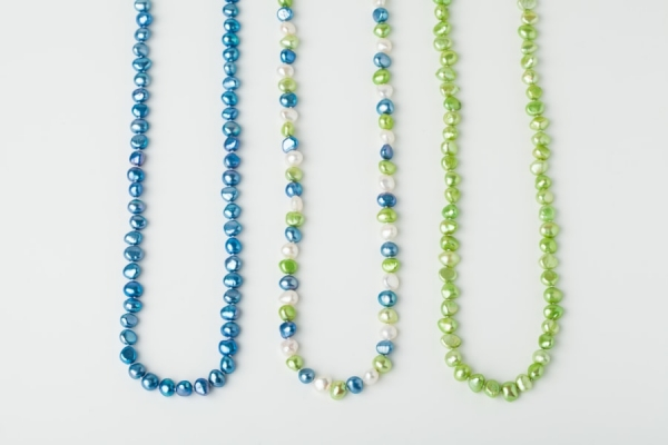 SKY BLUE, WHITE AND APPLE GREEN POTATO PEARL LOOP NECKLACES