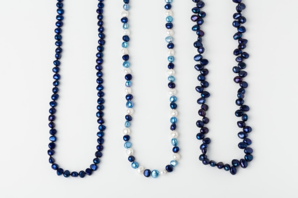 LAPIS BLUE, WHITE AND SKY BLUE PEARL LOOP NECKLACES
