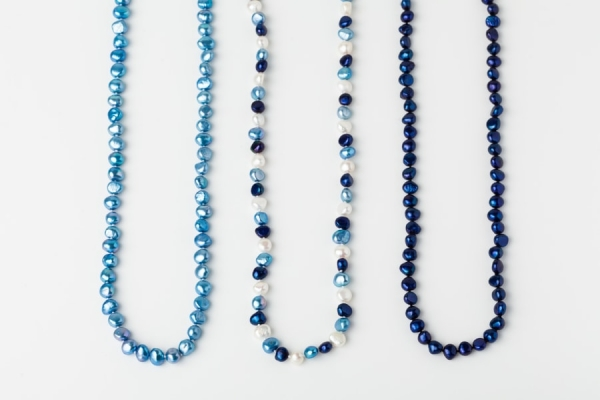 SKY BLUE, WHITE AND LAPIS BLUE POTATO PEARL LOOP NECKLACES
