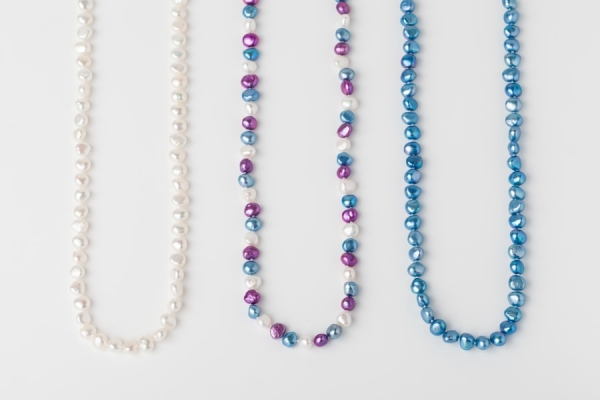 WHITE, MAGENTA AND SKY BLUE POTATO PEARL LOOP NECKLACES
