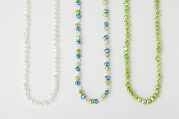 WHITE, SKY BLUE AND APPLE GREEN POTATO PEARL LOOP NECKLACES